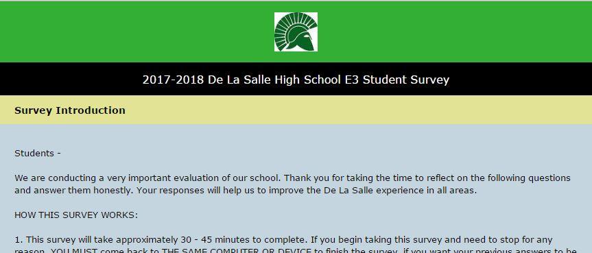 E3 Student Survey 2018 - De La Salle High School