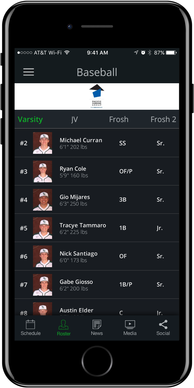 A baseball roster on the new app.