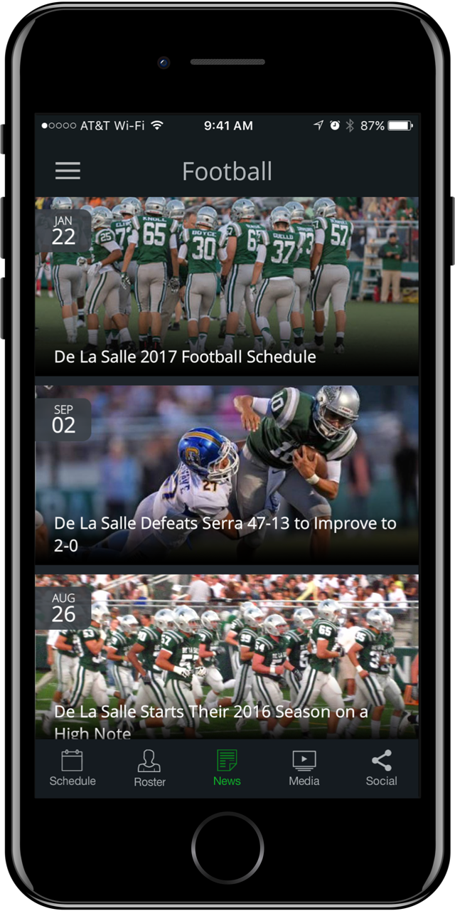 Football page on a mobile device